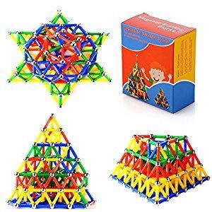 XUELIEE 206 pcs Educational Magnetic Sticks Building Blocks Toys, Magnetic Tiles Construction Blocks 3D Educational Toy Set for Kids