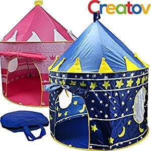 Kids Play Tent for Boys Girls Baby Toddler Playhouse Prince House Indoor Outdoor Blue Foldable Tents with Case by Creatov