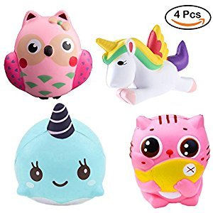 4 Pack Jumbo Slow Rising Stress Reliever Squishy Squeeze Squishes Toys