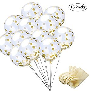 eZAKKA Gold Confetti Balloon, Glitter Confetti Balloons, Golden Circle Paper Confetti, 15 Pieces 12 Inches Dots Filled Latex Clear Party Balloons for Party, Wedding, Shower, Baby Shower Decorations