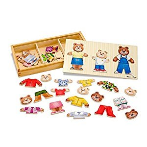 Melissa & Doug Mix 'n Match Wooden Bear Family Dress-Up Puzzle With Storage Case (45 pcs)